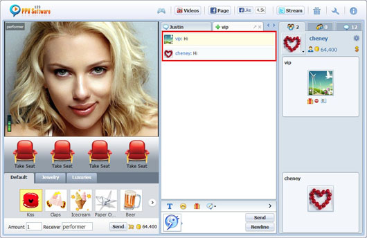 123 PPV Software Chat Software Performer Private Message, Webcam Chat, HTML Chat, Live PPV Software, Video Chat