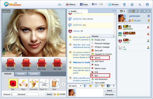 123 PPV Software Chat Software Performer User Control, Webcam Chat, HTML Chat, Live PPV Software, Video Chat