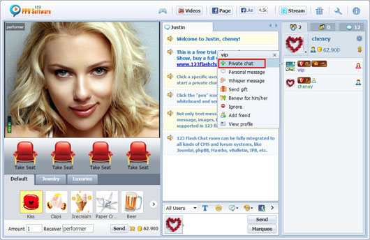 123 PPV Software Chat Software Performer Private Chat, Webcam Chat, HTML Chat, Live PPV Software, Video Chat