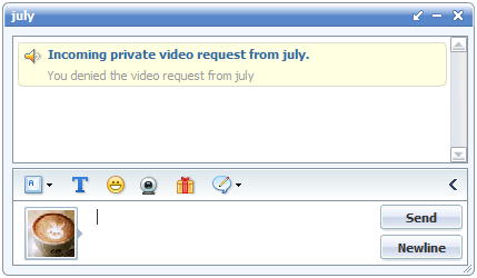 Block private video chat request in 123 Flash Chat, Chat Software