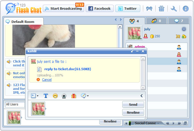 File Transfer of 123FlashChat, Video Chat, Flash Chat, Chat Software, PHP Chat