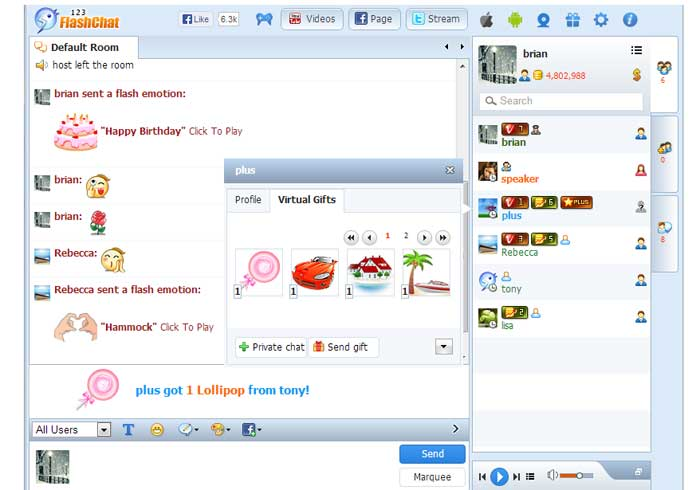 Virtual Gifts Record in the Profile Panel, 123 Flash Chat Software